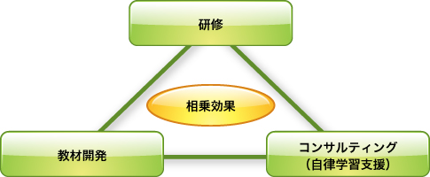 研修、教材開発、コンサルティング(自律学習支援)のシナジー効果でサポート